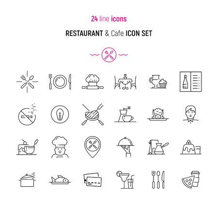 Line icon set van restaurant, cafe en een bar-elementen. Modern design iconen voor web en app-ontwerp en ontwikkeling