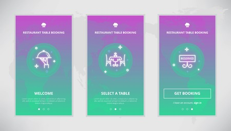 booking: Onboarding design concept for restaurant table booking service. Modern vector outline mobile app design set of a table booking services. Onboarding screens for a table booking online