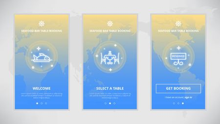 bar table: Onboarding design concept for Seafood Bar table booking service. Modern vector outline mobile app design set of a table booking services. Onboarding screens for a table booking online