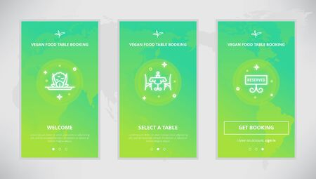 booking: Onboarding design concept for Vegan Food table booking service. Modern vector outline mobile app design set of a table booking services. Onboarding screens for a table booking online