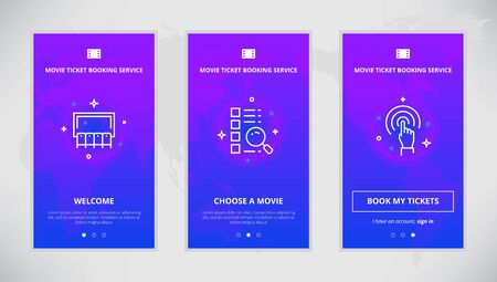 booking: Onboarding design concept for movie ticket booking service. Modern vector outline mobile app design set of movie ticket booking services. Onboarding screens for movie tickets booking on-line