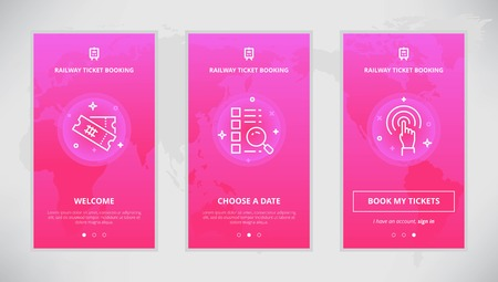 booking: Onboarding design concept for railway ticket booking service. Modern vector outline mobile app design set of railway ticket booking services. Onboarding screens for railway tickets booking on-line Illustration
