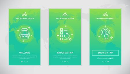 booking: Onboarding design concept for trip booking service. Modern vector outline mobile app design set of trip booking services. Onboarding screens for trip booking on-line