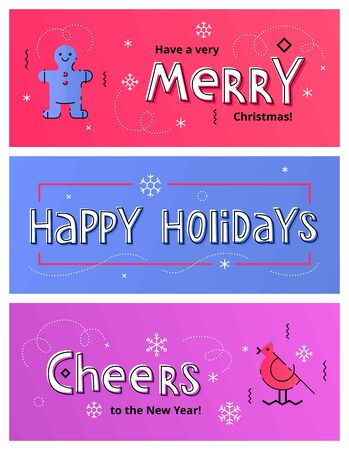 printed material: Set of Christmas social media banners with gingerbread man, bird and hand drawn letters. Vector illustrations for website and mobile banners, internet marketing and printed material design Illustration