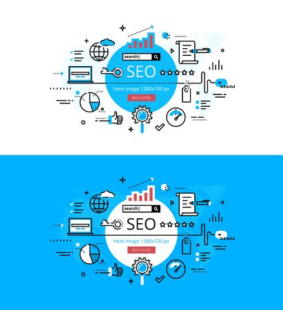 Set of trendy vector illustration concepts of search engine optimisation. Line flat design hero banners for websites and apps with call to action button, ready to use