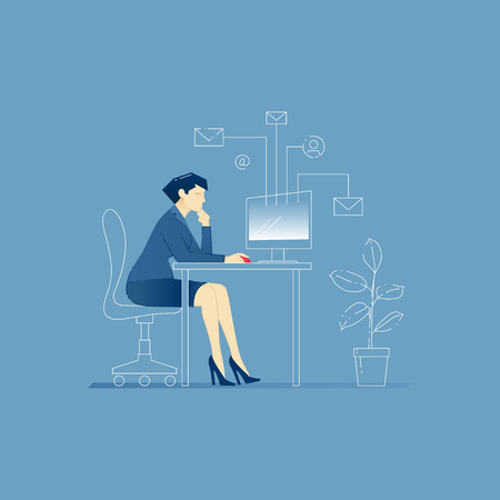 sending: Vector illustration of business woman character sitting at the office table and working on computer, sending emails. Vector concept for banners, infographics or landing pages of website Illustration