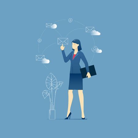big screen: Vector illustration of business woman character standing at the office and sending emails via big screen. Vector concept for banners, infographics or landing pages of website Illustration