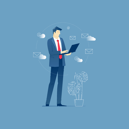sending: Vector illustration of businessman character standing at the office and sending emails via laptop. Vector concept for banners, infographics or landing pages of website