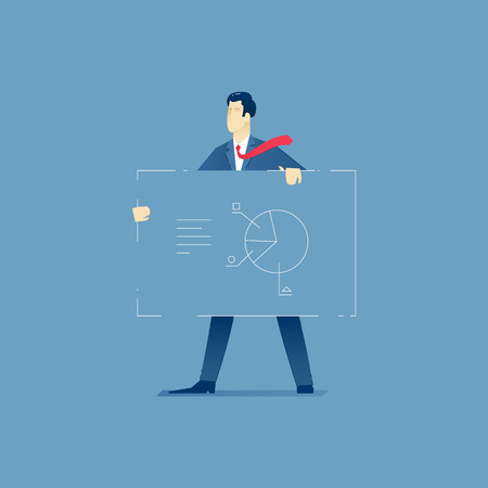 Vector illustration of businessman character standing and holding the big marketing banner. Vector marketing concept for banners, infographics or landing pages of website