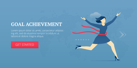 Vector banner template of business woman successfully crossing red finish ribbon. Vector concept for internet banners, social media banners, headers of websites and more