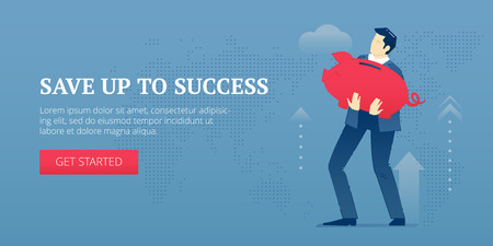 metaphoric: Vector banner template of businessman character in business suit holding a big red metaphoric piggy bank. Vector concept for internet banners, social media banners, headers of websites and more