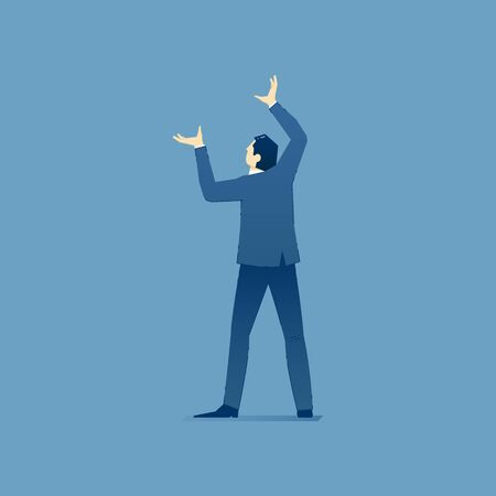Vector illustration of businessman character standing and holding something over his head. Vector concept for banners, infographics or landing pages of website