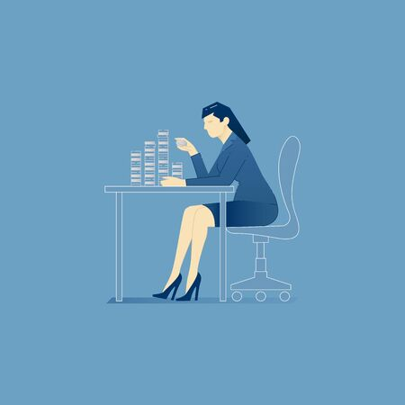 Vector illustration of business woman character sitting and counting coins. Vector concept for banners, infographics or landing pages of website Illustration