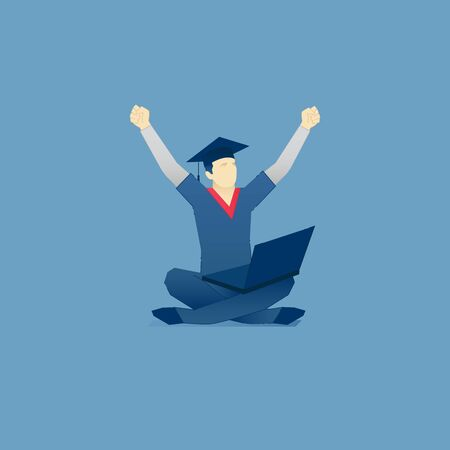 Vector illustration of student character in a student hat sitting with laptop on his crossing legs. Vector concept for banners, infographics, landing pages of website or print design