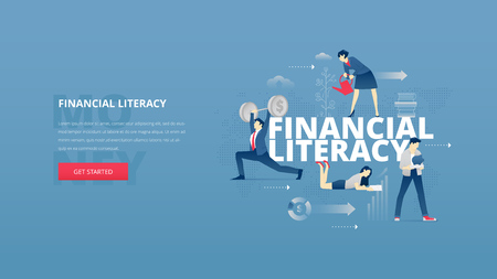 Vector illustrative  banner of financial education. Educational hero website header with young men and women characters around word financial literacy over digital world map