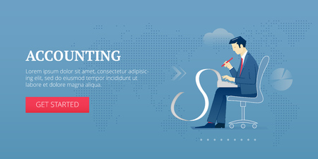 adding: Vector banner template of an accountant character holding an adding machine on his lap.