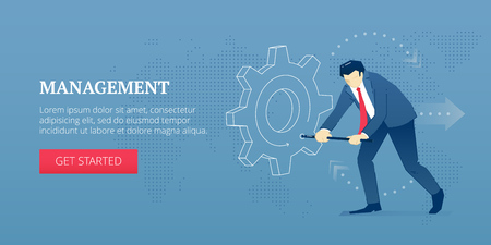 Vector banner template of businessman character twisting a big metaphoric business gearwheel. Illustration
