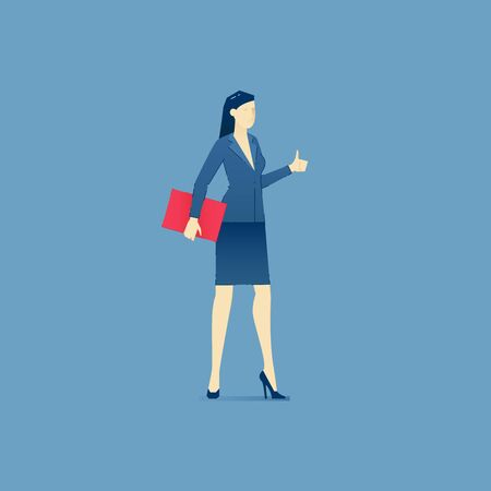 Business illustration of business woman character standing and showing thumb up. Vector endorse concept for banners, info graphics or landing pages of website Illustration