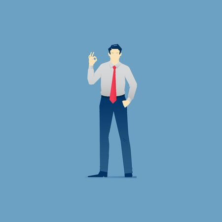 Business illustration of businessman character standing and showing OK gesture. Vector approve concept for banners, info graphics or landing pages of website
