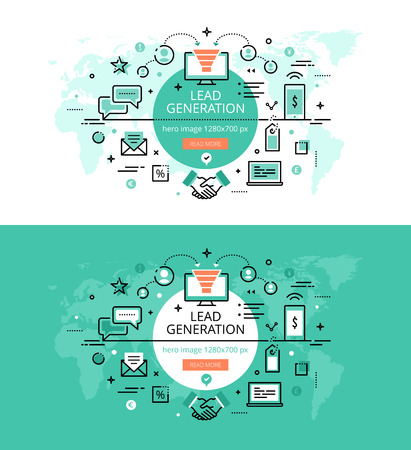 Set of modern vector illustration concepts of creating leads. Line flat design hero banners for websites and apps with call to action button, ready to use
