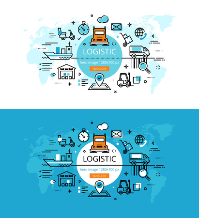 Set of modern vector illustration concepts of logistic and delivery. Line flat design hero banners for websites and apps with call to action button, ready to use