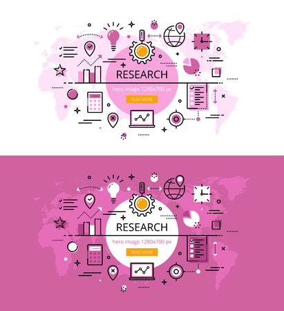 exploratory: Set of modern vector illustration concepts of market research. Line flat design hero banners for websites and apps with call to action button, ready to use