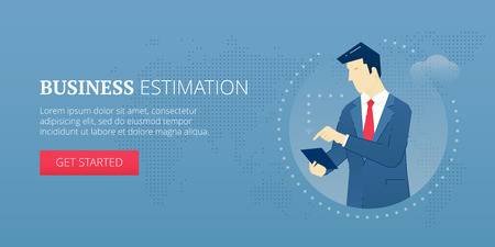 Vector banner template of businessman character making business estimation with calculator. Vector concept for internet banners, social media banners, headers of websites and more