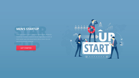 Vector illustrative hero banner of mens business startup. Project launch hero website header with young men characters around word STARTUP over digital world map Illustration