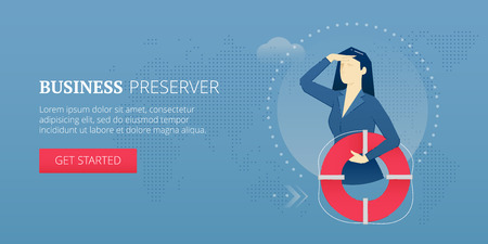 Business woman holding a life preserver and looking forward with the hand on forehead. Vector illustration of company rescue mission. Banner template of business metaphor Illustration