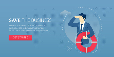 Businessman holding a life preserver and looking forward with the hand on forehead. Vector illustration of company rescue mission. Banner template of business metaphor