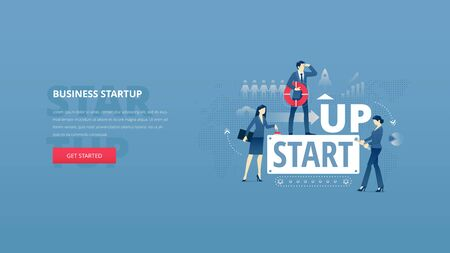 Vector illustrative hero banner of business startup. Project launch hero website header with young men and women characters around word STARTUP over digital world map.