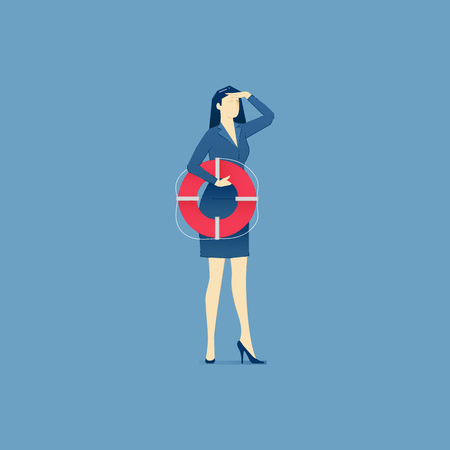 Business woman holding a life preserver and looking forward with the hand on forehead. Vector illustration of company rescue mission. Isolated on blue background Illustration