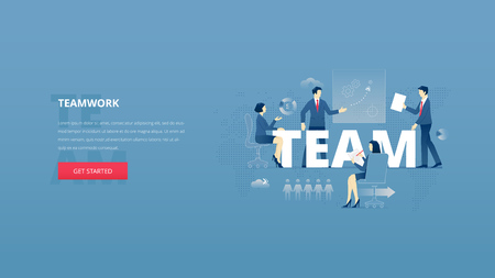 Vector illustrative hero banner of teamwork and brainstorming. Team building hero website header with young men and women characters around word TEAM together over digital world map