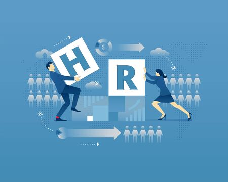 Business metaphor of human resources. Businessman and businesswoman faceless characters placing letters H and R together over digital world map. Vector illustration isolated on blue background