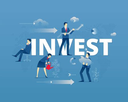 Business metaphor of investment. Businessman and businesswoman faceless characters in action around word INVEST over digital world map. Vector illustration isolated on blue background Illustration