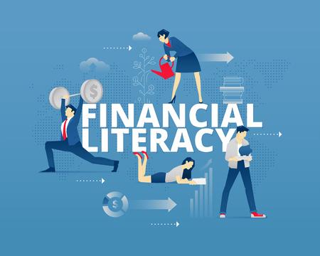 Metáfora visual de la educación financiera moderna. Hombres jóvenes y mujeres personajes sin rostro en movimientos diferenciales alrededor de palabras ALFABETIZACIÓN FINANCIERA. Ilustración vectorial aislado en fondo azul