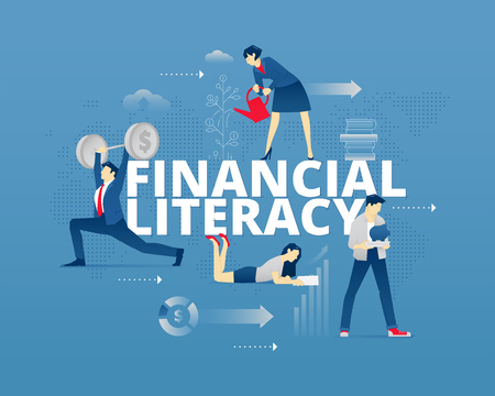 Visual metaphor of modern financial education. Young men and women faceless characters in differrent movements around words FINANCIAL LITERACY. Vector illustration isolated on blue background