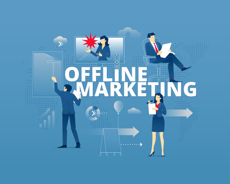 Business metaphor of traditional marketing and product promotion. Businessman and businesswoman faceless characters in action around word OFFLINE MARKETING over digital world map. Vector illustration isolated on blue background Illustration