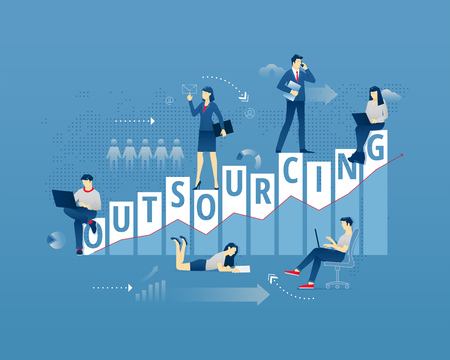 Business metaphor of remote work organisation. Businessman and businesswoman faceless characters in action around word OUTSOURCING over digital world map. Vector illustration isolated on blue background