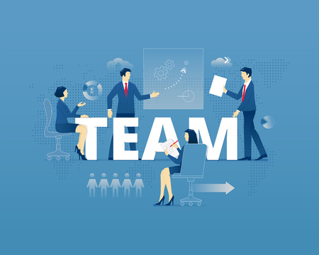 Business metaphor of teamworking. Businessman and businesswoman faceless characters in action around word TEAM over digital world map. Vector illustration isolated on blue background