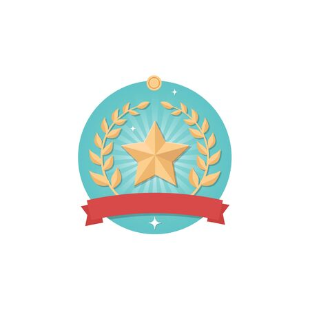 Bronze medal icon with star and wreath isolated on white background in flat design style. Illustration