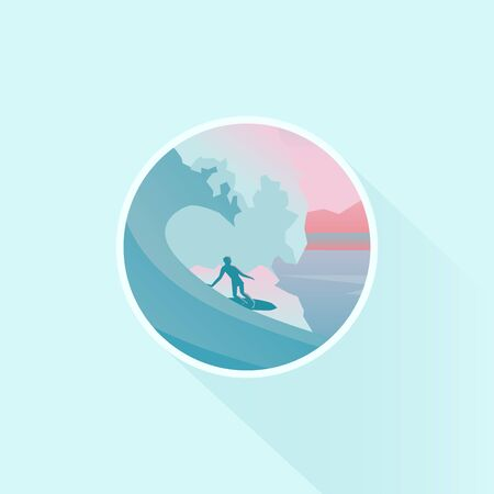 Vector badge design of season vacation. Surfer silhouette on surfboard under big wave. Nature landscape, long shadow, flat design. Illustration