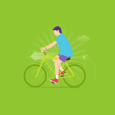 Caucasian man biking in shorts, t-shirt and sneakers with fitness tracker on his wrist.