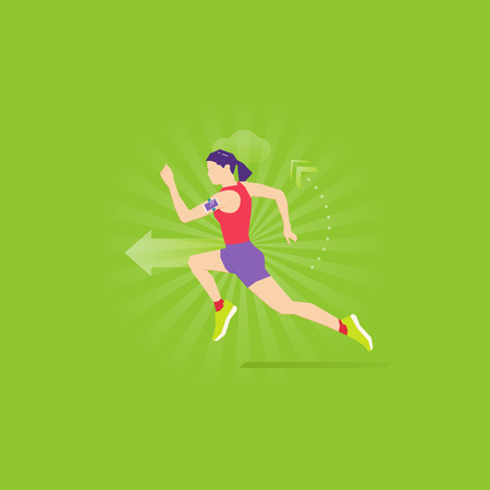 Caucasian woman run in shorts, sports shirt and sneakers with fitness tracker on her arm. Illustration