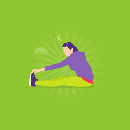Caucasian woman doing leg stretching exercise in sport suit and sneakers. Illustration