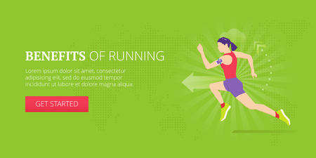 Running and jogging illustrative banner design with athletic woman running with fitness tracker on her arm. Fitness, sport, workout vector banner template. Ilustração