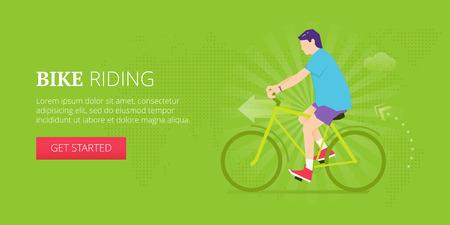 Biking illustrative banner design with man in a shorts riding bike. Fitness, sport, workout vector banner template. Illustration
