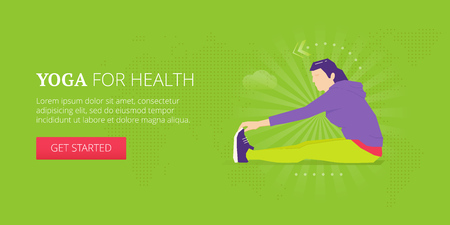 Yoga stretching illustrative banner design with young woman in sport suit doing leg stretching. Yoga, fitness, sport, workout vector banner template.