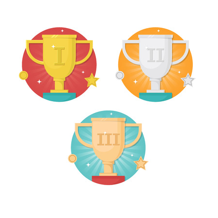 Vector winner badges with trophy cups icons set isolated on white background. Trophy and awards vector flat design set