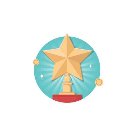 Vector 3d Place winner star icon isolated on white background. Trophy and awards vector flat design